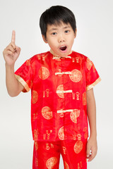 Little asian cute boy in Chinese costume