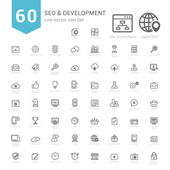 Set of Bold Stroke SEO and Development icons Vector Illustration