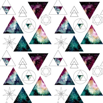 Pattern with Watercolor Nebula in Triangles and Sacred Geometry