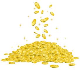 山積みされたコインに降り注ぐ複数のコイン イメージイラスト