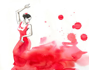 Watercolor flamenco
