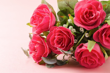 Beautiful red roses on pink background,Valentine day concept