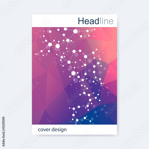 scientific brochure design template vector flyer layout molecular
