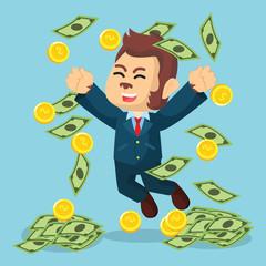 business monkey raining money