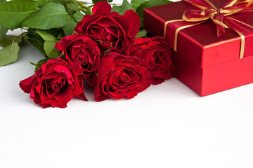 Bouquet of red roses and gift box , Valentines Day background