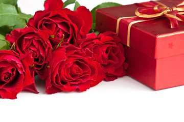 Red roses and gift box.  Valentine's day, wedding or birthday  concept