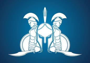 Spartan warrior pose graphic vector.