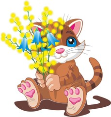 Kitten with a bouquet of spring flowers. Vector illustration on a transparent background
