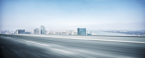 modern office buildings in hangzhou new city from elevated road
