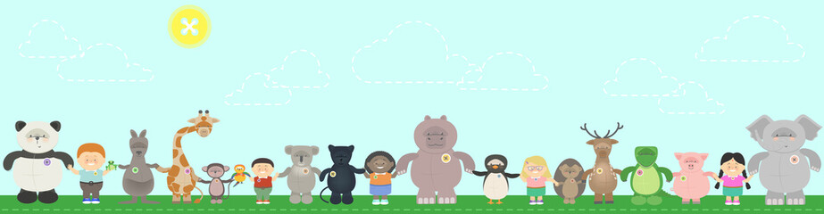 Concept, protection of animals, living in harmony. Different animals and children of different nationalities holding hands. Vector cartoon