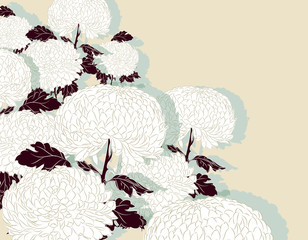 chrysanthemum pattern poster in white and brown