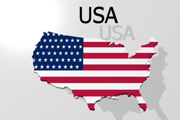 USA map as a 3d rendering with text
