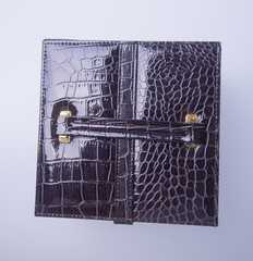 jewelry box or leather jewelery box on background.