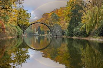 """Devil's bridge""""Rakotz bridge """" in the park Kromlau, Germany"""