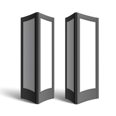 Vector Black White Rectangular Poster Stands Pillars for Outdoor Advertising Side View Isolated on Background