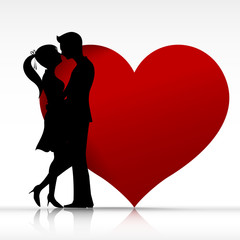 002 Man and woman couper kissing with love silhouette design ele