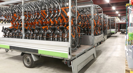 inside a huge warehouse of bicycles