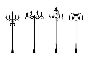 Street lamps in silhouette style, vector