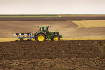 tractor at work on the earth