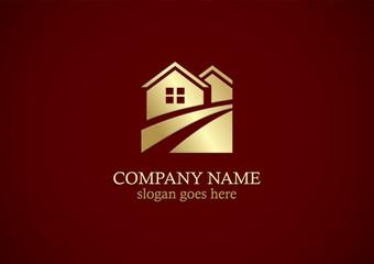 gold home vector logo