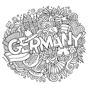 Cartoon cute doodles Germany illustration