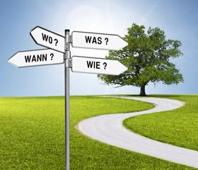 Obraz Wegweiser Was, Wie Wann, Wo mit Weg - fototapety do salonu