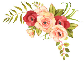 FLower bohemian bouquet with roses. Decorative composition for w