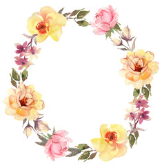 Flower bohemian wreath with roses. Decorative composition for we