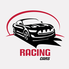 Race car symbol logo template, stylized vector silhouette