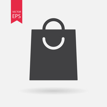 Shopping bag icon isolated on white. Paper grocery black eco bag with handle. Flat style element for graphic and web design, logo, mobile upp, website, social media, UI