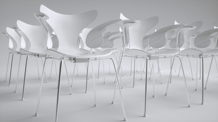 Chairs arranged for a meeting - 3D Rendering