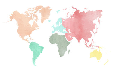 Map of the continental world in watercolor in six different colors