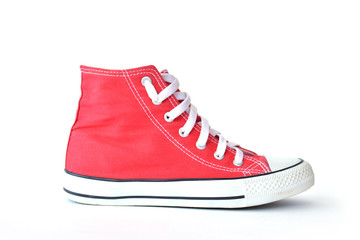 Red sneakers on white