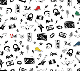 Punk Rock seamless pattern isolated on white. Rock and roll doodles. Music signs, rockstar, record label, skull, tattoo, guitar band. Cool vector hand drown design for print, textille, wrapping paper