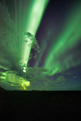 Beautiful aurora dancing over Snaefellsnes National Park-Iceland, image noise due high ISO