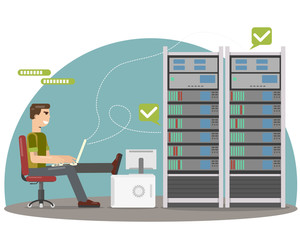 System engineer diagnoses servers. Vector illustration