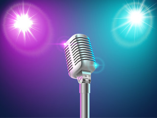 Microphone in the light of two spotlights
