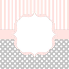 Invitation card in soft pink and gray
