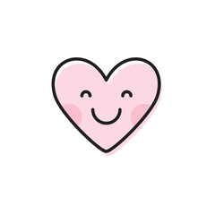 Cute heart emoji. Smiling face icon. Smiley