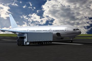 LKW und Flugzeug auf dem Vorfeld eines Flughafens