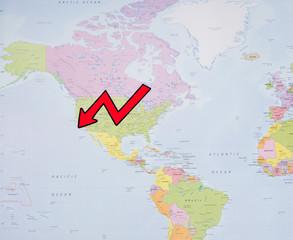 Spoed Foto op Canvas Wereldkaart GDP growth of the US economy
