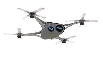isolated modern camera drone in flight, front view of the futuristic black  concept 3D illustration