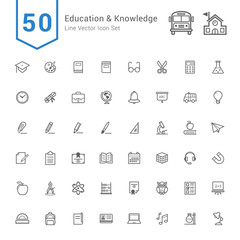 Education and Knowledge Icon Set. 50 Line Vector Icons.