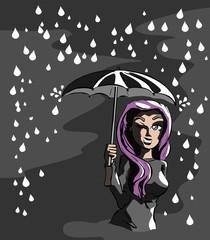 Wandelen in de regen in het donker