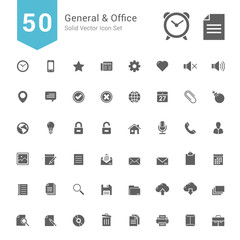 General and Office Icon Set. 50 Solid Vector Icons.