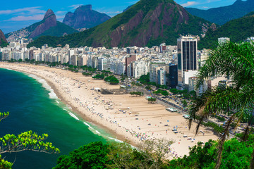 Copacabana beach in Rio de Janeiro, Brazil. Copacabana beach is the most famous beach of Rio de Janeiro, Brazil Wall mural