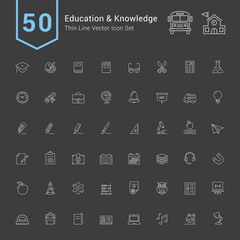 Education and Knowledge Icon Set. 50 Thin Line Vector Icons.