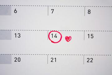 Valentine's day February 14 mark on the calendar