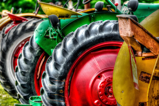 Close up photograph of a row of old tractors at a rural farm auction
