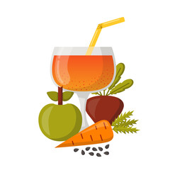 Vector detox smoothies cartoon ingredients